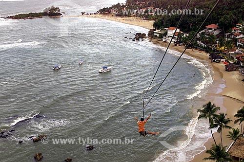 Assunto: Descida na tirolesa do Morro de São Paulo com a 2ª Praia e a  1º Praia ao fundo / Local: Cairu - Bahia (BA) - Brasil / Data: 04/1991