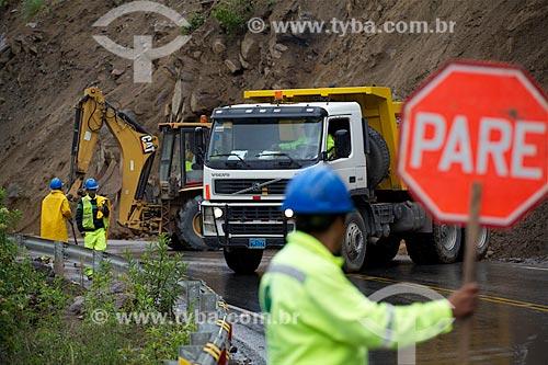 Assunto: Trecho interditado por deslizamento de terra na estrada de acesso à Cusco / Local: Cusco - Peru - América do Sul / Data: 12/2011