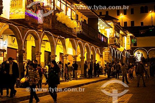 Assunto: Plaza de Armas (Praça das Armas) à noite / Local: Cusco - Peru - América do Sul / Data: 12/2011