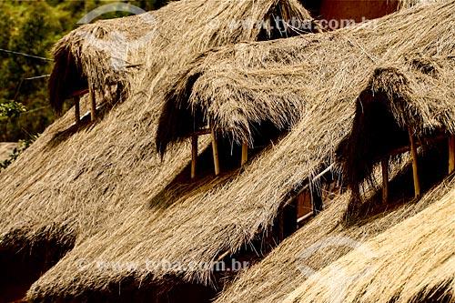 Assunto: Detalhe do telhado de casas na Ilhas de Uros - ilhas feitas com a fibra da totora (Scirpus californicus) / Local: Puno - Peru - América do Sul / Data: 12/2011