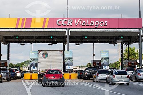Assunto: Pedágio do Km 22 da Rodovia RJ-124 (Via Lagos), direção norte - próximo à divisa entre Araruama e Rio Bonito / Local: Araruama - Rio de Janeiro (RJ) - Brasil / Data: 01/2014