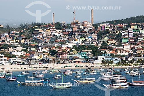 Assunto: Vista da Praia dos Anjos com barcos ancorados / Local: Arraial do Cabo - Rio de Janeiro (RJ) - Brasil / Data: 01/2014