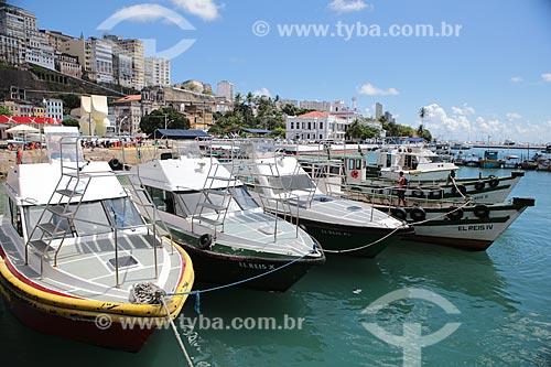 Assunto: Barcos no Centro Náutico da Bahia com Cidade Alta ao fundo / Local: Salvador - Bahia (BA) - Brasil / Data: 02/2014