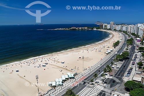 Assunto: Praia de Copacabana próximo ao antigo Forte de Copacabana (1914-1987), atual Museu Histórico do Exército / Local: Copacabana - Rio de Janeiro (RJ) - Brasil / Data: 03/2014