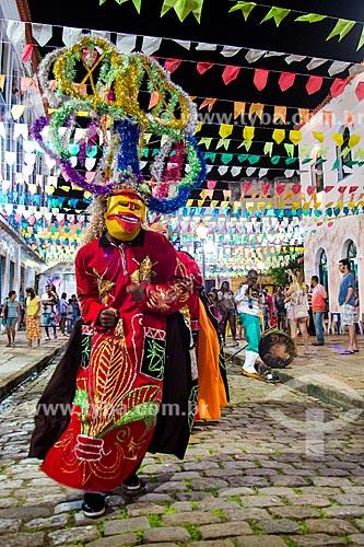 Assunto: Folião fantasiado durante apresentação de bumba meu boi / Local: São Luís - Maranhão (MA) - Brasil / Data: 06/2013