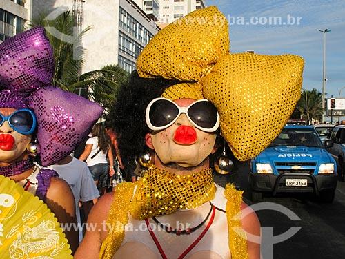 Foliões no bloco de carnaval de rua Banda de Ipanema  - Rio de Janeiro - Rio de Janeiro - Brasil