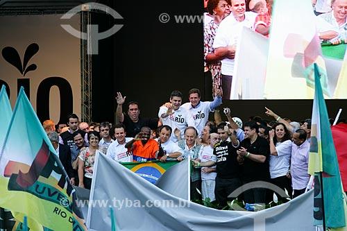 Políticos e personalidades durante a manifestação Contra a Covardia! Em defesa do Rio! - contra distribuição dos royalties do petróleo  - Rio de Janeiro - Rio de Janeiro - Brasil