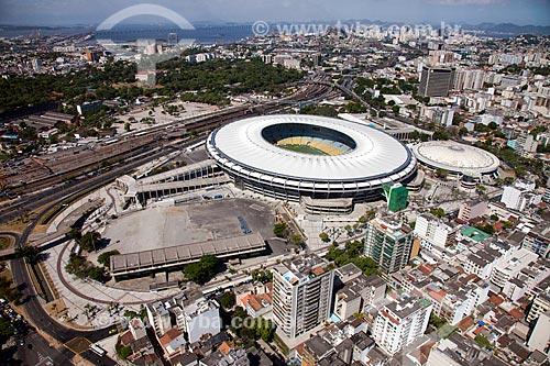 Assunto: Foto aérea do Estádio Jornalista Mário Filho (1950) - também conhecido como Maracanã - com o Ginásio Gilberto Cardoso (1954) - também conhecido como Maracanãzinho / Local: Maracanã - Rio de Janeiro (RJ) - Brasil / Data: 02/2014