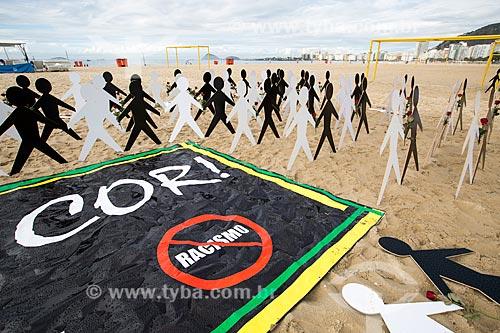 Assunto: Manifestação promovida pela Associação do Conselho Gestor de Esporte e Lazer do Estado do Rio de Janeiro (ASCAGEL) - contra o racismo - na Praia de Copacabana / Local: Copacabana - Rio de Janeiro (RJ) - Brasil / Data: 03/2014