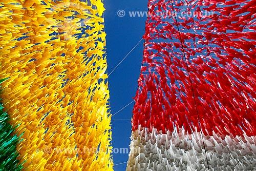 Assunto: Detalhe de enfeite de rua com as cores do Brasil para a Copa do Mundo / Local: Morro da Liberdade - Manaus - Amazonas (AM) - Brasil / Data: 06/2014