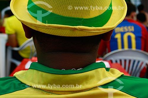 Assunto: Homem vestido com as cores do Brasil / Local: Manaus - Amazonas (AM) - Brasil / Data: 06/2014