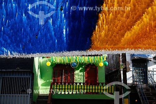 Assunto: Rua enfeitada com as cores do Brasil para a Copa do Mundo / Local: Praça 14 de Janeiro - Manaus - Amazonas (AM) - Brasil / Data: 06/2014