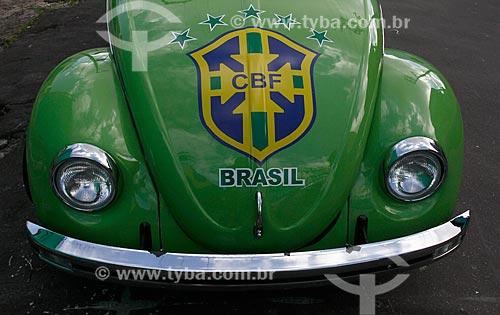 Assunto: Fusca enfeitado com as cores do Brasil para a Copa do Mundo / Local: Praça 14 de Janeiro - Manaus - Amazonas (AM) - Brasil / Data: 06/2014