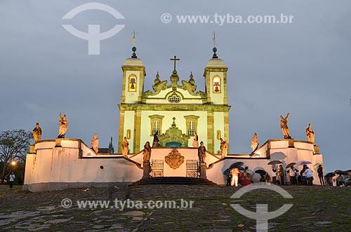 Assunto: Vista noturna do Santuário de Bom Jesus de Matosinhos e dos doze profetas / Local: Congonhas - Minas Gerais (MG) - Brasil  / Data: 06/2012