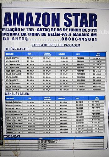 Assunto: Tabela de preços de passagens de barco que faz a travessia entre Belém (PA) e Manaus (AM) / Local: Breves - Pará (PA) - Brasil / Data: 03/2014