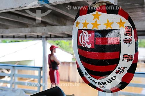 Assunto: Casco de tartaruga enfeitado em barco / Local: Distrito de São Carlos - Porto Velho - Rondônia (RO) - Brasil / Data: 04/2014