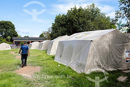 Assunto: Abrigo para desalojados da cheia do Rio Madeira / Local: Distrito de Nazaré - Porto Velho - Rondônia (RO) - Brasil / Data: 04/2014