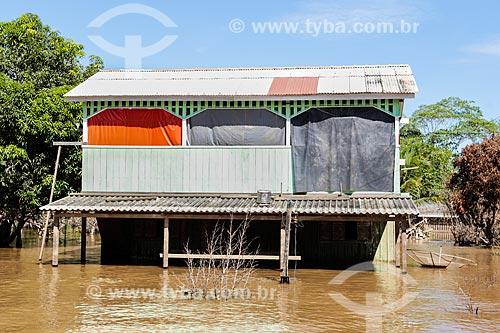 Assunto: Casa destruída durante à cheia do Rio Madeira / Local: Distrito de Nazaré - Porto Velho - Rondônia (RO) - Brasil / Data: 04/2014