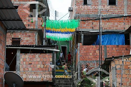 Assunto: Casas enfeitadas com as cores do Brasil para a Copa do Mundo / Local: Compensa - Manaus - Amazonas (AM) - Brasil / Data: 06/2014