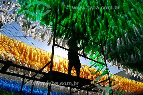 Assunto: Torcedor decorando a Rua Santa Isabel com as cores do Brasil para a Copa do Mundo / Local: Praça 14 de Janeiro - Manaus - Amazonas (AM) - Brasil / Data: 06/2014