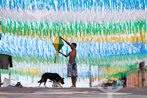 Assunto: Rua Natal enfeitada com as cores do Brasil para a Copa do Mundo / Local: Compensa - Manaus - Amazonas (AM) - Brasil / Data: 06/2014