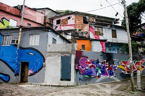 Assunto: Detalhe de grafite na parede no Morro dos Prazeres  / Local: Santa Teresa - Rio de Janeiro (RJ) - Brasil / Data: 07/2013