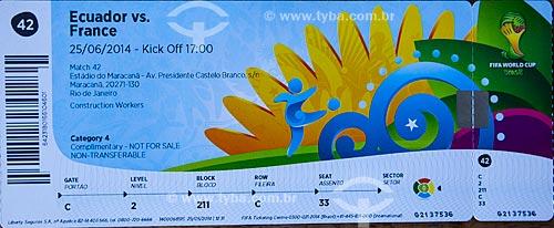 Assunto: Detalhe de ingresso para o jogo da Copa do Mundo no Brasil entre Equador x França no Estádio Jornalista Mário Filho - também conhecido como Maracanã / Local: Rio de Janeiro (RJ) - Brasil / Data: 06/2014