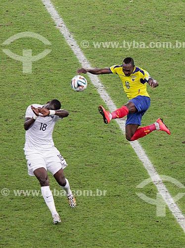 Assunto: Disputa durante o jogo entre Equador x França pela Copa do Mundo no Brasil / Local: Maracanã - Rio de Janeiro (RJ) - Brasil / Data: 06/2014