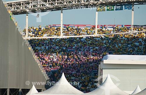Assunto: Vista da arquibancada do jogo entre Brasil x Croácia na Arena Corinthians durante a Copa do Mundo no Brasil / Local: Itaquera - São Paulo (SP) - Brasil / Data: 06/2014
