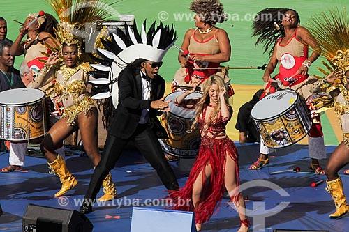 Assunto: Show de Carlinhos Brown e Shakira durante a cerimônia de encerramento da Copa do Mundo no Brasil antes do jogo entre Alemanha x Argentina / Local: Maracanã - Rio de Janeiro (RJ) - Brasil / Data: 07/2014