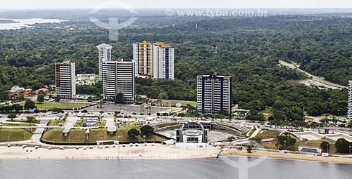 Assunto: Foto aérea do anfiteatro da Praia de Ponta Negra com prédios ao fundo / Local: Manaus - Amazonas (AM) - Brasil / Data: 06/2014