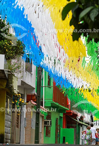 Assunto: Rua enfeitada com as cores do Brasil para a Copa do Mundo / Local: São Raimundo - Manaus - Amazonas (AM) - Brasil / Data: 06/2014