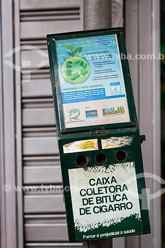 Assunto: Caixa coletora de bituca de cigarro no Centro Luiz Gonzaga de Tradições Nordestinas / Local: São Cristovão - Rio de Janeiro (RJ) - Brasil / Data: 05/2014