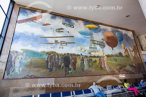 Painel Aviação Antiga (1951) no hall do Aeroporto Santos Dumont  - Rio de Janeiro - Rio de Janeiro (RJ) - Brasil