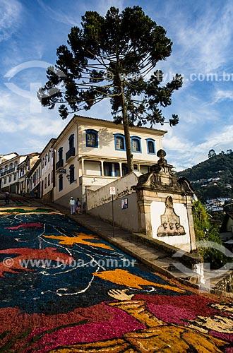 Tapetes feitos de serragem para as comemorações da Semana Santa  - Ouro Preto - Minas Gerais (MG) - Brasil