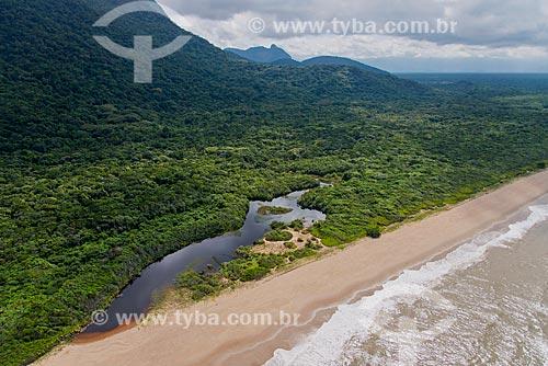 Praia e foz do Rio Verde na Estação Ecológica de Juréia-Itatins   - Iguape - São Paulo (SP) - Brasil