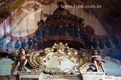 Interior da Igreja de Santa Efigênia (1723) também conhecida como Igreja de Chico Rei - Papa negro no detalhe  - Ouro Preto - Minas Gerais (MG) - Brasil