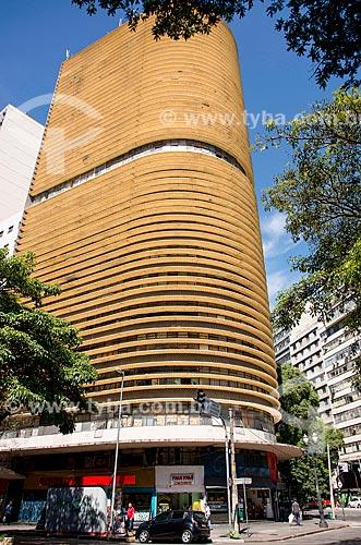 Detalhe do Edifício Montreal - projeto de Oscar Niemeyer - esquina da Avenida Ipiranga com a Casper Líbero  - São Paulo - São Paulo (SP) - Brasil