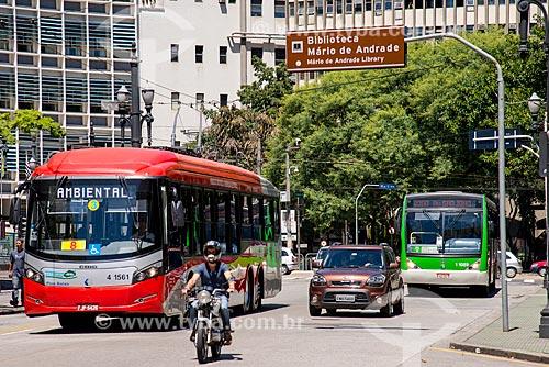 Ônibus elétrico na rua da Consolação  - São Paulo - São Paulo (SP) - Brasil