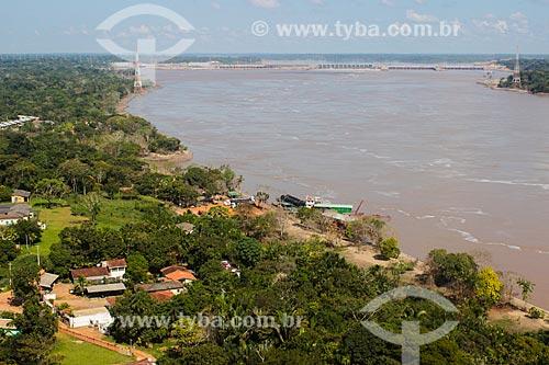 Foto aérea do Rio Madeira com a Usina Hidrelétrica de Santo Antônio ao fundo  - Porto Velho - Rondônia (RO) - Brasil