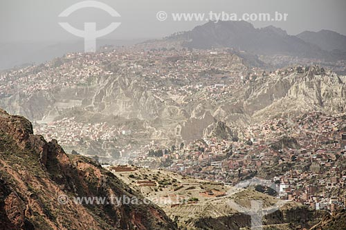 Vista geral de La Paz a partir do Valle de la Luna (Vale da Lua)  - La Paz - Departamento de La Paz - Bolívia