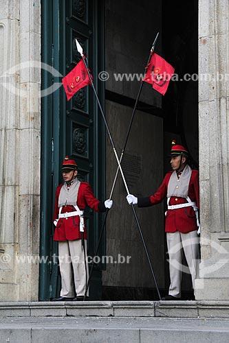 Guardas no Palacio Quemado (Palácio Queimado) - sede do governo da Bolívia  - La Paz - Departamento de La Paz - Bolívia