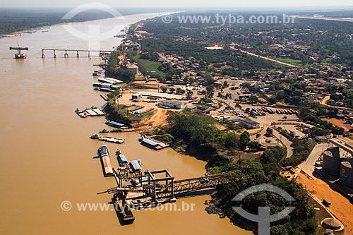 Foto aérea do Porto de Porto Velho com a construção da Ponte Rondon-Roosevelt ao fundo  - Porto Velho - Rondônia (RO) - Brasil