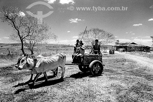 Família em carro de boi no sertão  - Canudos - Bahia (BA) - Brasil