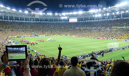 Seleção Brasileira e Espanhola no jogo entre Brasil x Espanha pela final da Copa das Confederações no Estádio Jornalista Mário Filho - também conhecido como Maracanã  - Rio de Janeiro - Rio de Janeiro (RJ) - Brasil