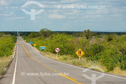 Sinalização na Rodovia PE-360  - Floresta - Pernambuco (PE) - Brasil