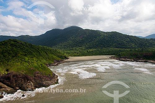 Foto aérea da Praia Brava com a Estação Ecológica de Juréia-Itatins ao fundo  - Peruíbe - São Paulo (SP) - Brasil