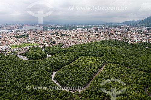 Foto aérea de manguezal e casas no Guarujá  - Guarujá - São Paulo (SP) - Brasil