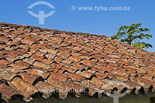 Telhas de barro cozido na Fazenda Santa Clara - considerada uma das maiores fazenda do século XIX  - Santa Rita de Jacutinga - Minas Gerais (MG) - Brasil