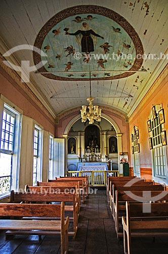 Interior da capela da Fazenda Santa Clara - considerada uma das maiores fazenda do século XIX  - Santa Rita de Jacutinga - Minas Gerais (MG) - Brasil